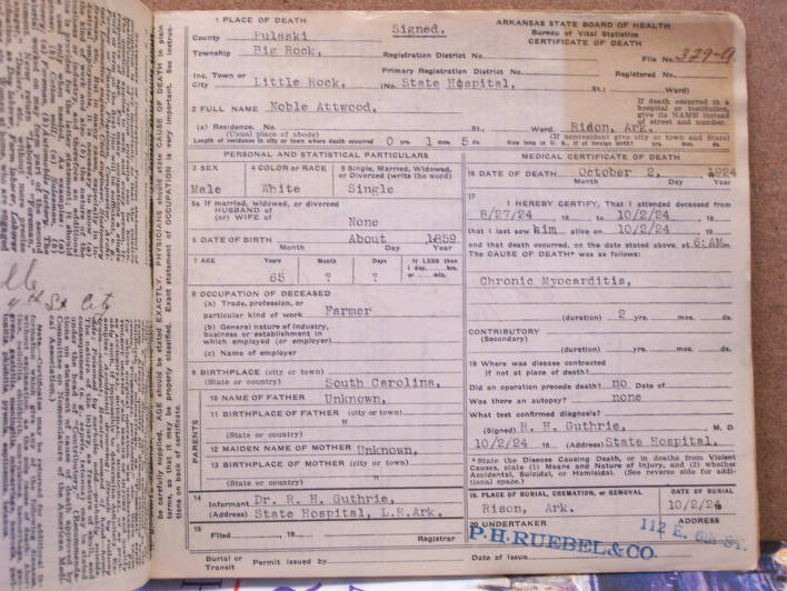death certificate: noble attwood - documents - asi research portal